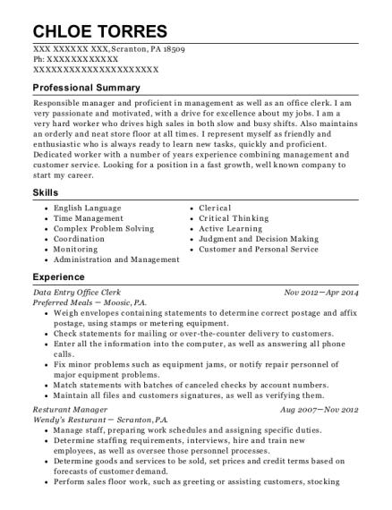 Data Entry Office Clerk resume format Pennsylvania
