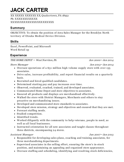 Store Manager resume format Pennsylvania
