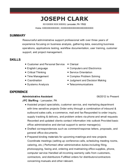 Administrative Assistant resume template Pennsylvania