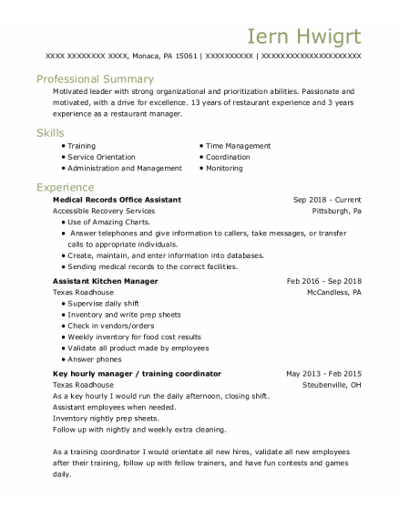 Assistant Kitchen Manager resume format Pennsylvania