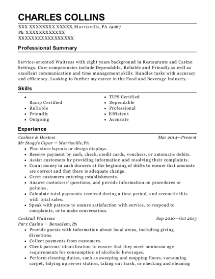 Cashier & Hostess resume example Pennsylvania