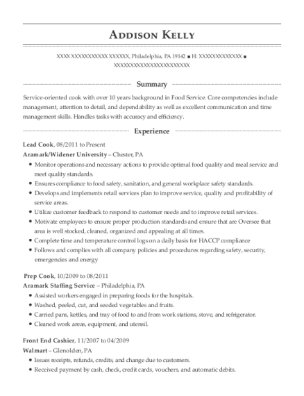 Lead Cook resume example Pennsylvania