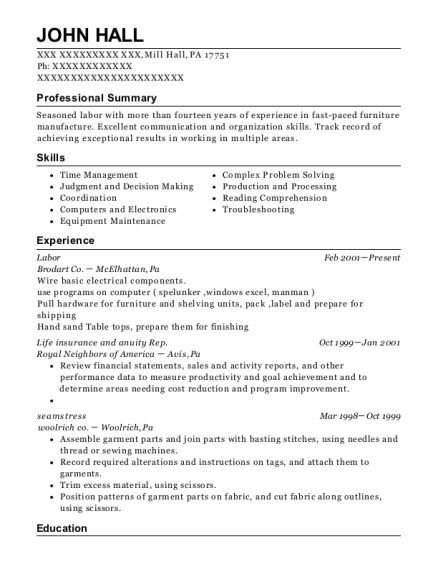 Labor resume format Pennsylvania