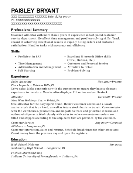 Sales Associate resume template Pennsylvania