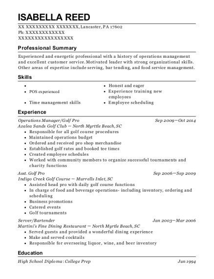 Operations Manager resume template Pennsylvania