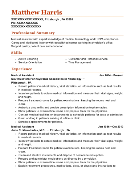 Medical Assistant resume format Pennsylvania