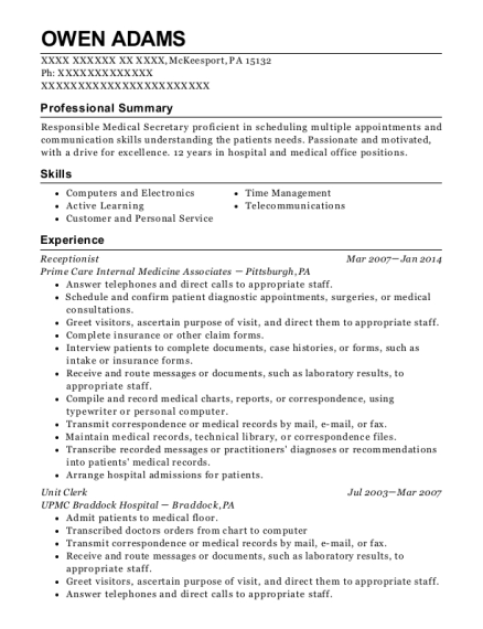 Receptionist resume example Pennsylvania