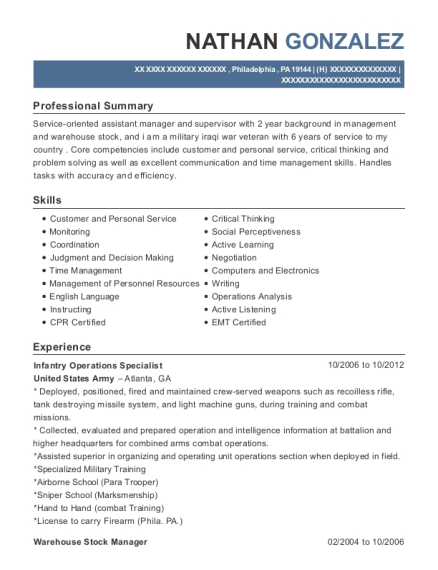 Infantry Operations Specialist resume sample Pennsylvania