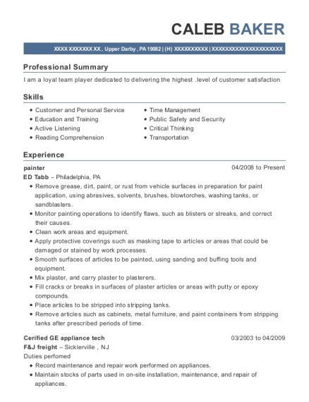 Painter resume example Pennsylvania