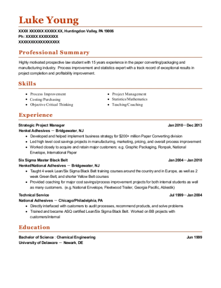 Strategic Project Manager resume sample Pennsylvania