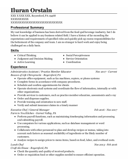Administrative Assistant resume format Pennsylvania