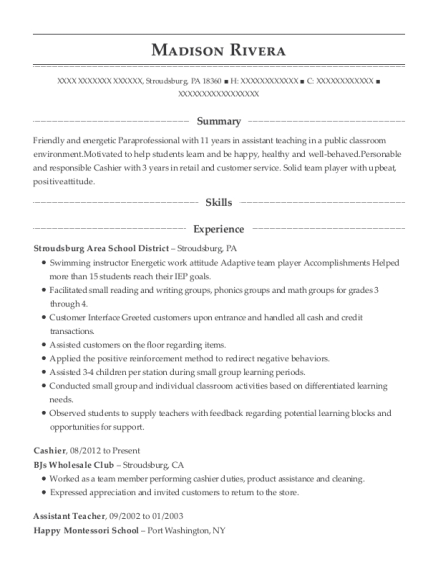 Cashier resume sample Pennsylvania