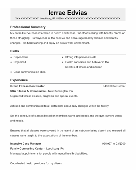 Intensive Case Manager resume format Pennsylvania