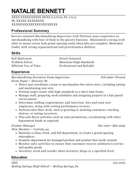 Merchandising Execution Team Supervisor resume format Pennsylvania