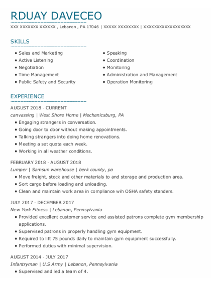 Lumper resume template Pennsylvania