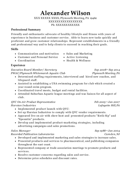 Executive Board Member resume template Pennsylvania