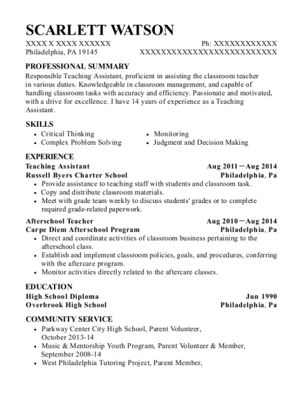 Teaching Assistant resume format Pennsylvania