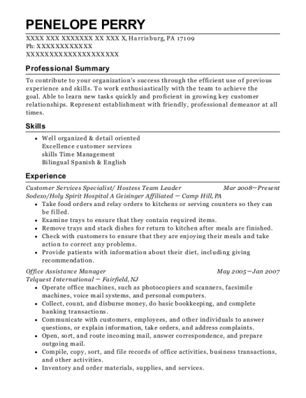 Customer Services Specialist resume example Pennsylvania