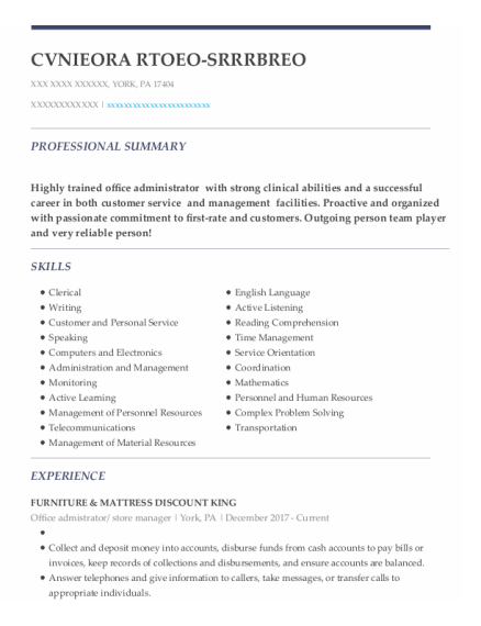 Store Manager resume template Pennsylvania
