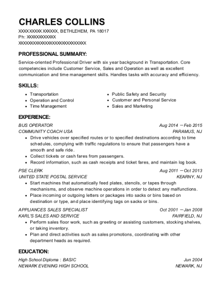 BUS OPERATOR resume example Pennsylvania