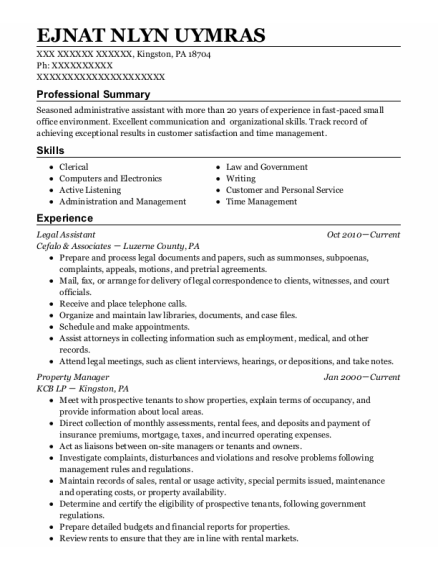 Legal Assistant resume template Pennsylvania