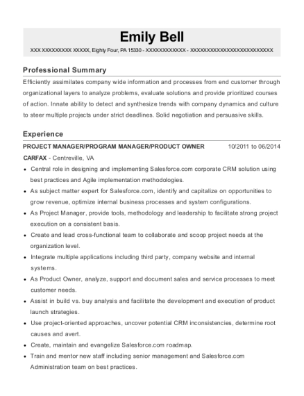PROJECT MANAGER resume format Pennsylvania