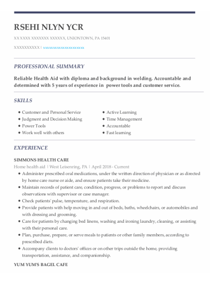 Home Health Aid resume format Pennsylvania