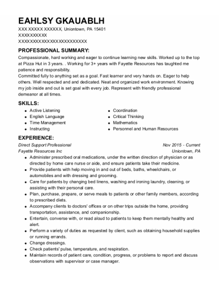Direct Support Professional resume format Pennsylvania