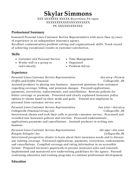 Personal Lines Customer Service Representative resume sample Pennsylvania
