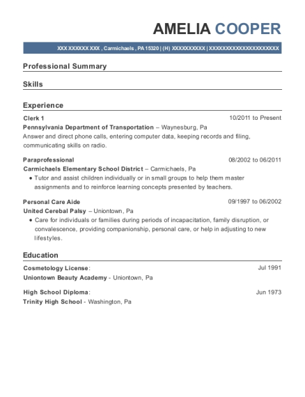 Clerk 1 resume format Pennsylvania