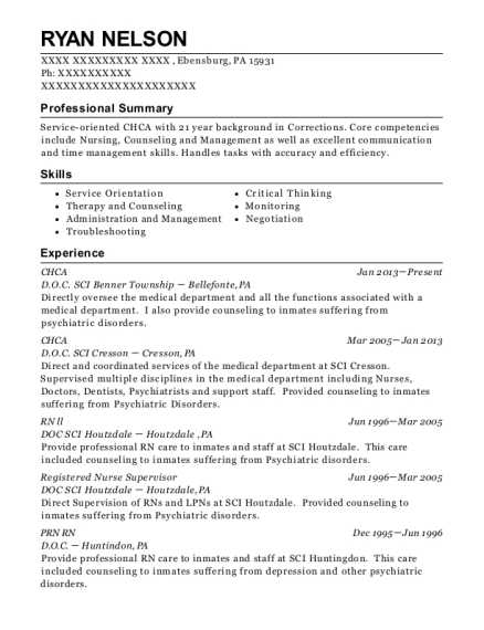 CHCA resume example Pennsylvania