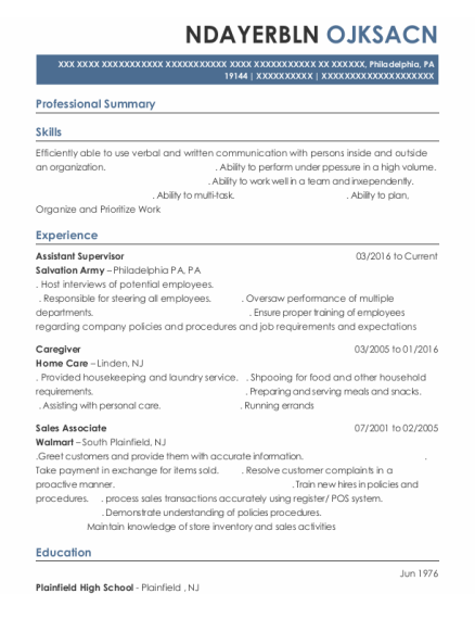 Assistant Supervisor resume sample Pennsylvania
