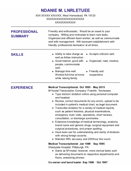 Medical Transcriptionist resume format Pennsylvania