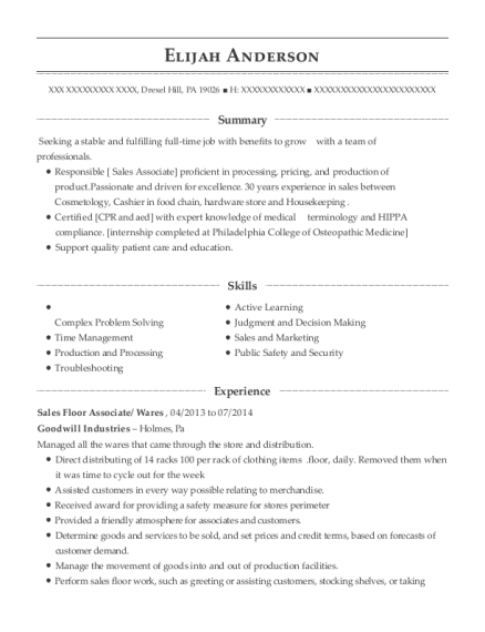Sales Floor Associate resume example Pennsylvania