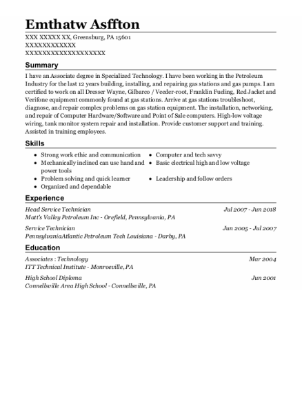 Service Technician resume template Pennsylvania