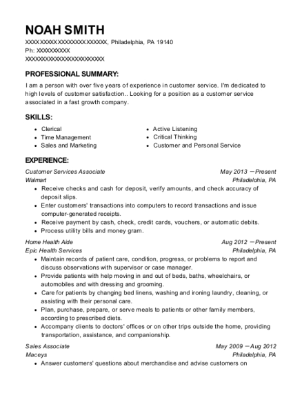 Customer Services Associate resume template Pennsylvania