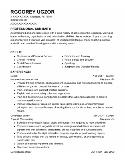 Coach resume sample Pennsylvania