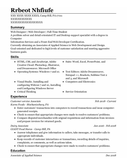 Customer Service Associate resume template Pennsylvania