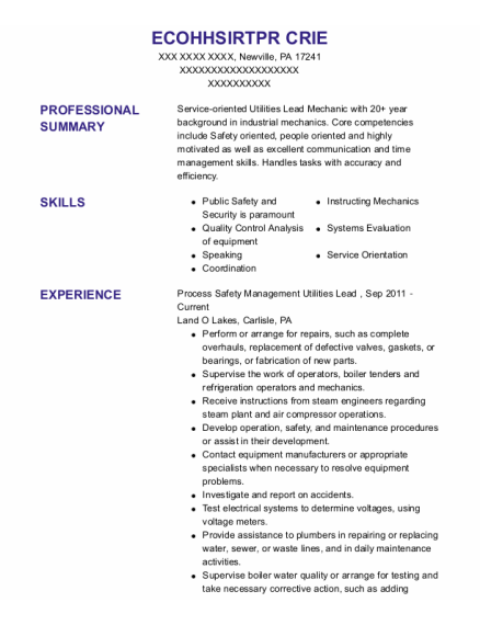 Journeyman resume example Pennsylvania