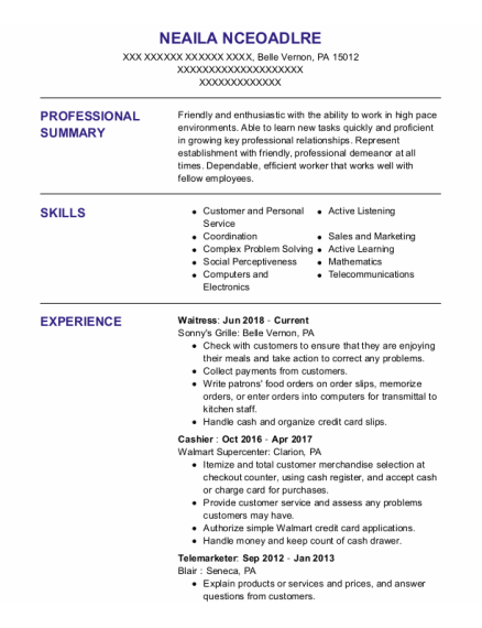Waitress resume sample Pennsylvania