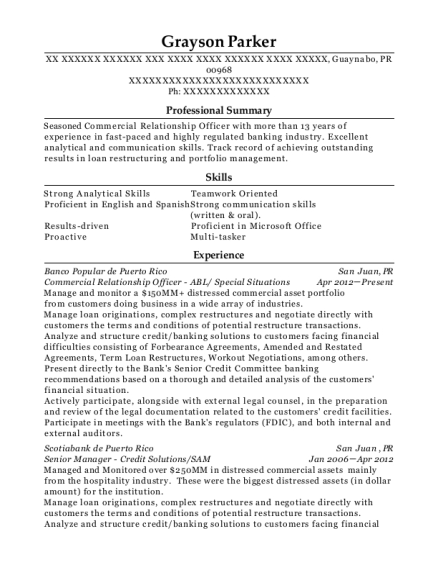 Commercial Relationship Officer ABL resume template Puerto Rico