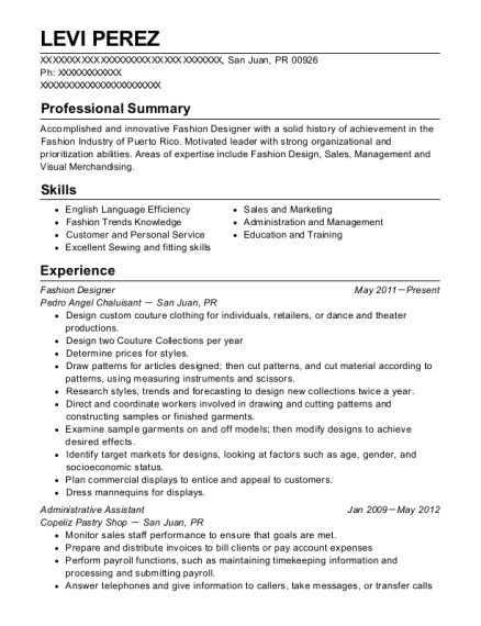 20 Best Fashion Designer Resumes Resumehelp