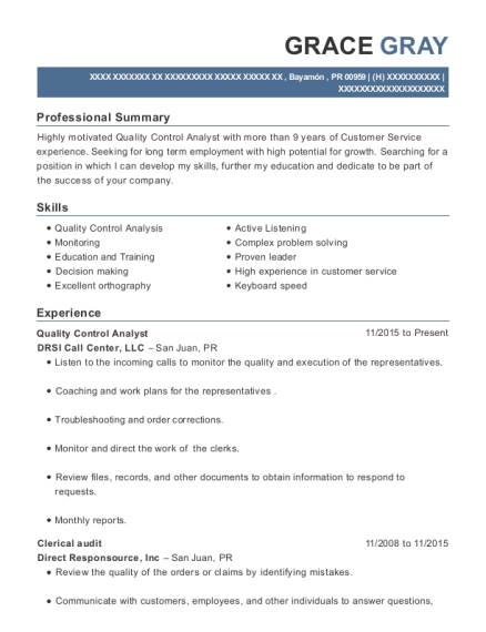 Quality Control Analyst resume format Puerto Rico
