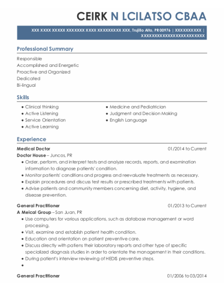 Medical Doctor resume format Puerto Rico