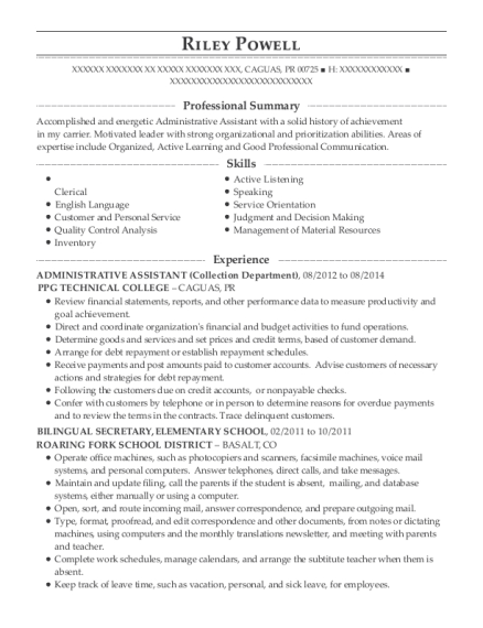 ADMINISTRATIVE ASSISTANT resume example Puerto Rico