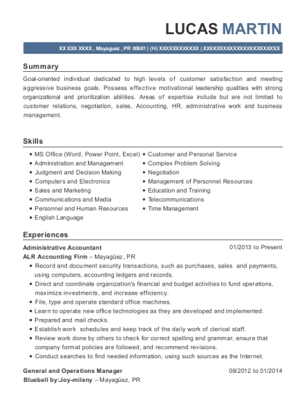 Administrative Accountant resume example Puerto Rico