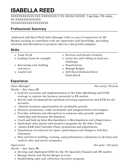 Sales Manager resume format Puerto Rico