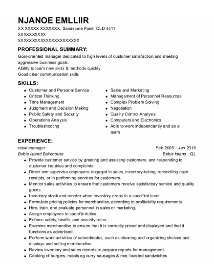 retail manager resume template QLD