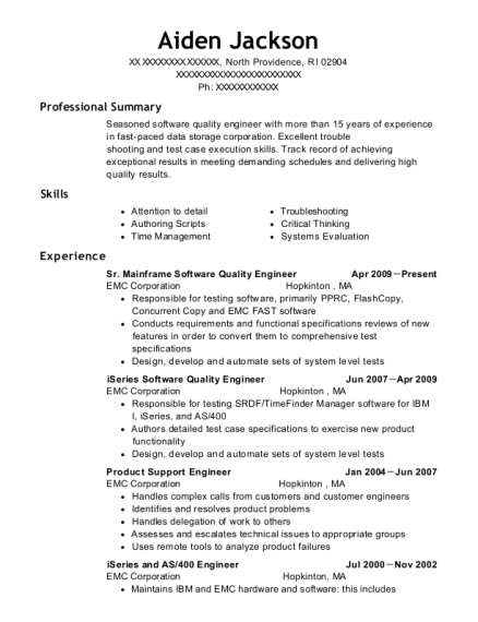 Sr Mainframe Software Quality Engineer resume format Rhode Island