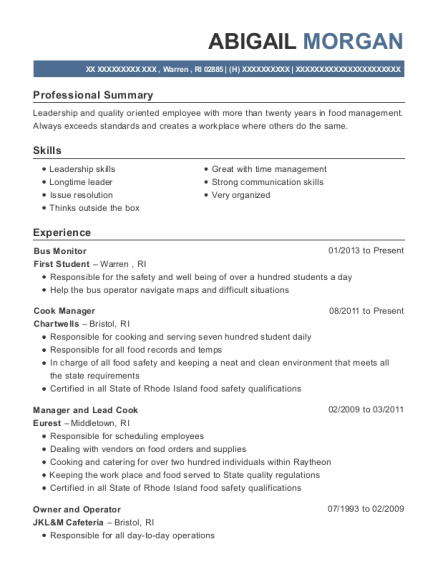 Bus Monitor resume format Rhode Island